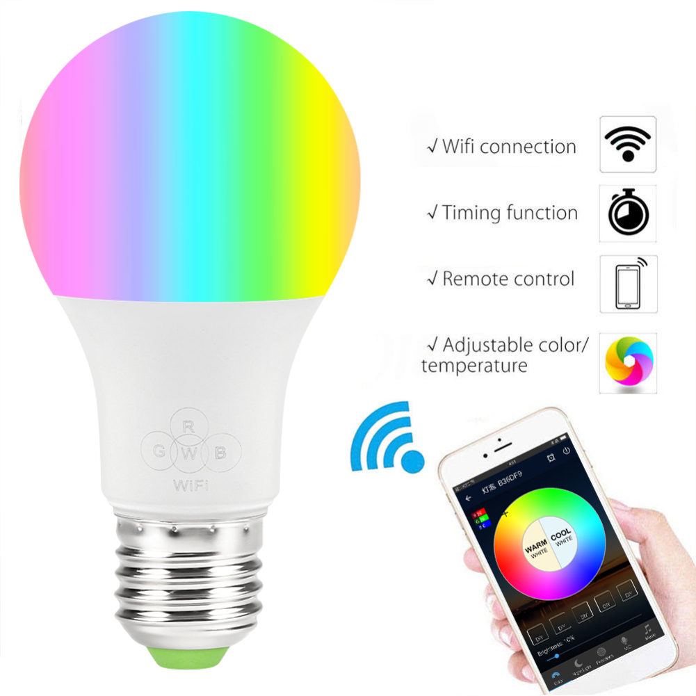 E27 Smart WIFI Bulb Magic RGB Dimmable LED Bulb Light Bulb, Wake-Up Lights,Compatible With Alexa Google Assistant