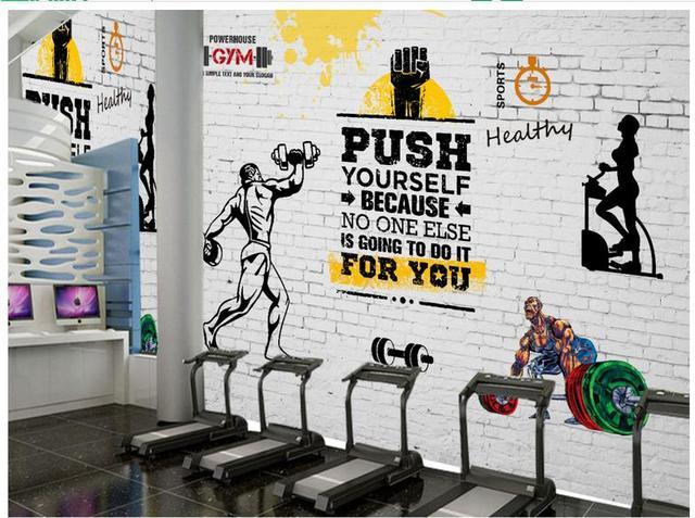 D Photo Wallpaper D Murals Wallpaper For Walls  D Gym Mural Custom Retro Sports Fitness