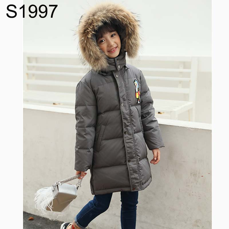 Winter Jackets for Girls Coats Cartoon Pattern Long Down Outerwear Kids Thick Warm Down Parkas Children's Fur Hooded Clothes cartoon boys girls winter down coat kids long sleeve hooded jackets children thick warm outwear clothes parkas for girls yb234