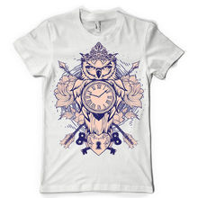 TIME OWL clock heart bird fauna key tattoo dtg mens t shirt teesPrinted Summer Style Tees Male Harajuku Top Fitness Brand