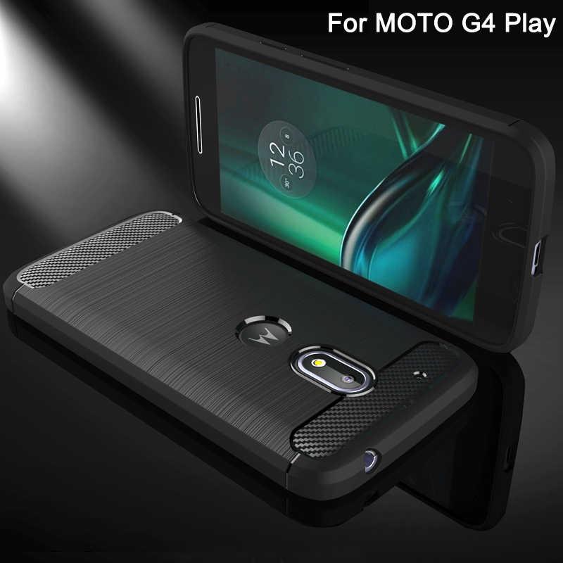 Verkoop Case voor Motorola Moto G4 Spelen Mobiele Telefoon Tas Carbon Fibre geborsteld TPU Smart Telefoon Gevallen voor Moto G 4 Play Cover Shell