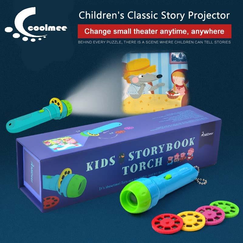 3D Fun Knowledge Projector Lamp Baby Sleep Story Night Light Cartoon LED Projector Flashlight Room Children Toys Christmas Gift