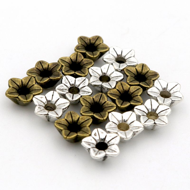 45Pcs 3D Flower Loose Sparer End Bead Caps for Jewelry Making Finding Diy Bracelet Accessories Component Wholesale Supply