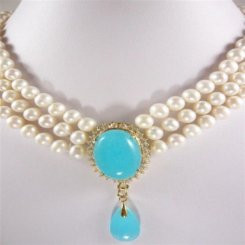 Nouveau femmes couleur blanche 3 rangées blanc et noir perle bleu pendentif collier AAA15752