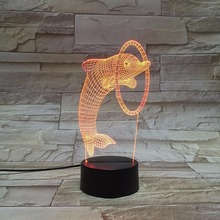 Colorful LED 3D Vision Night Light Jumping Dolphin Image Touchment Control Color 3D Night Lamp Desk Light цена 2017