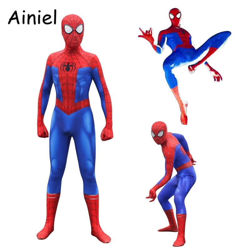 Ainiel Spider Man: Into the Spider-Verse Peter Parker Cosplay Costume Adult Children Boys Spiderman Bodysuit Superhero Zentai
