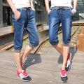De gran Tamaño jeans shorts hombres 2016 de moda de verano cordón Gimnasio pantalones cortos rectos delgados masculinos capris de mezclilla hombres Pantalones Cortos