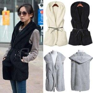 Image 4 - Women Hoodie Long Vest Sleeveless Jacket Faux Lamb Fur Coat Waistcoat Outerwear