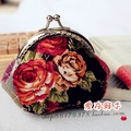 Black rose mouth gold package handmade fabric diy material coin purse rustic kit metal frame handbag