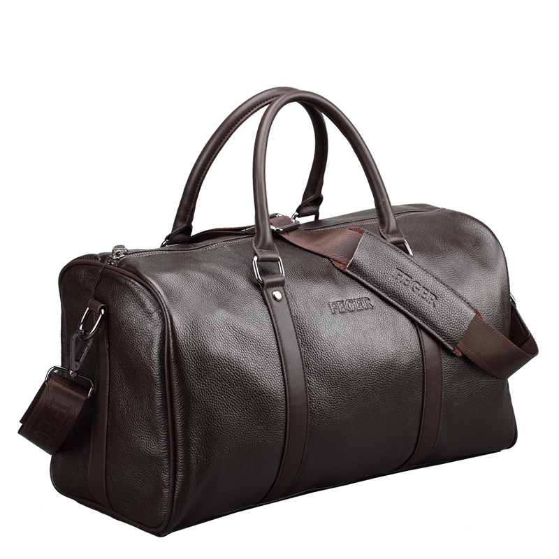 Fashion Genuine Leather Travel Bag Men Large Carry On Luggage Duffle