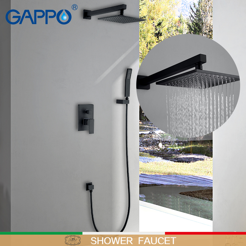 GAPPO Shower Faucets shower mixer black set  waterfall bathtub faucet bath tub mixers