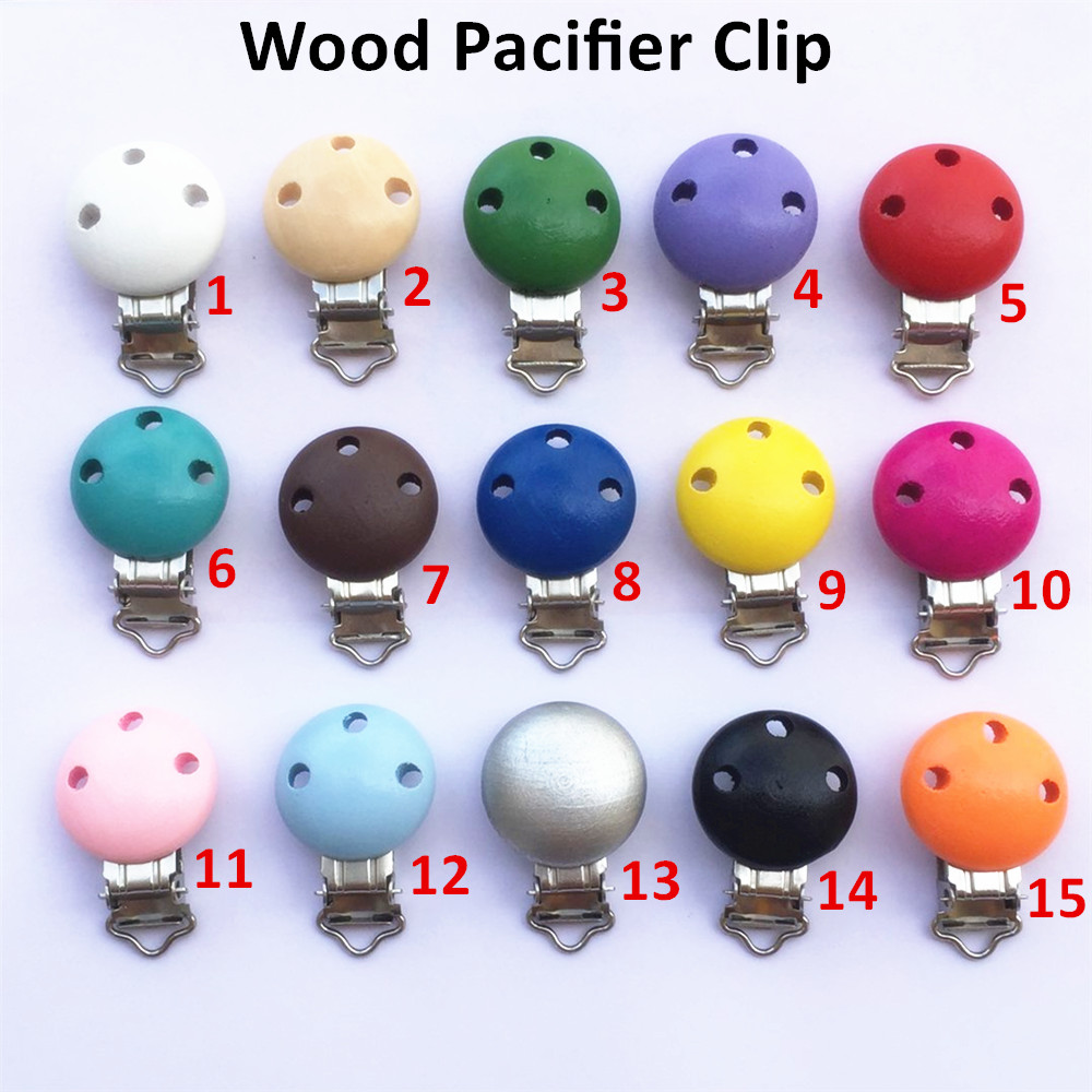 Chenkai 250PCS Nature Wooden Baby Infant Pacifier Soother Dummy Chain Holder DIY Round Clips With Metal Holders