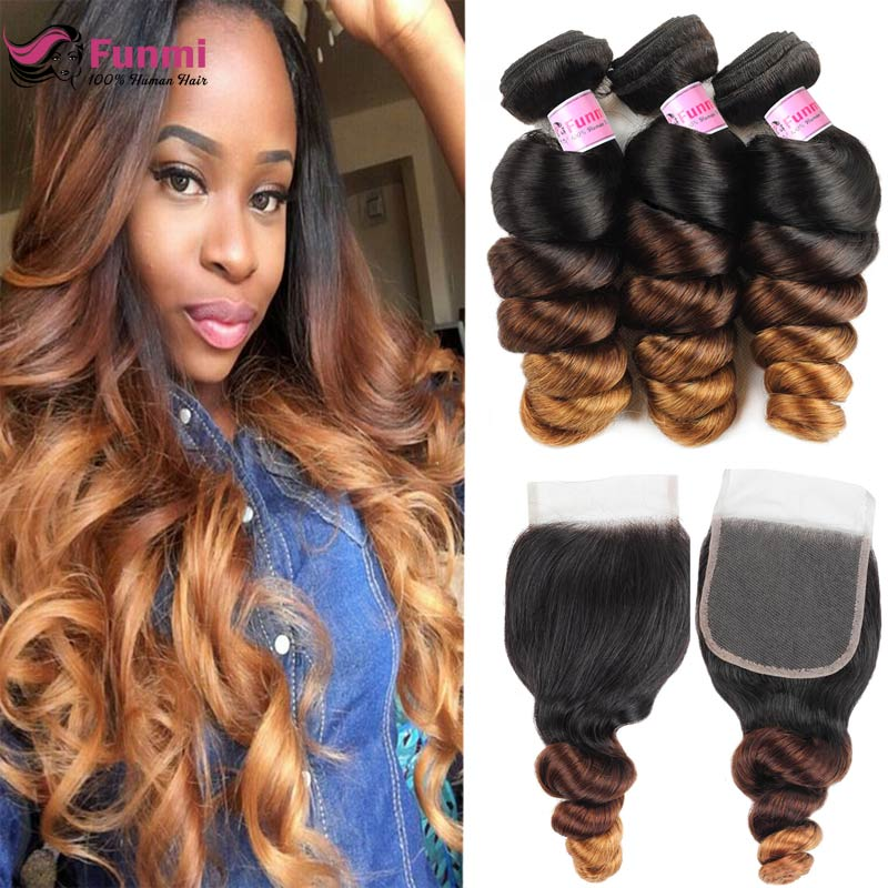 Ombre Loose Wave Bundles With Closure 1B/4/30 Light Brown Bundles With Closure Funmi Virgin Brazilian Hair Bundles With Closure