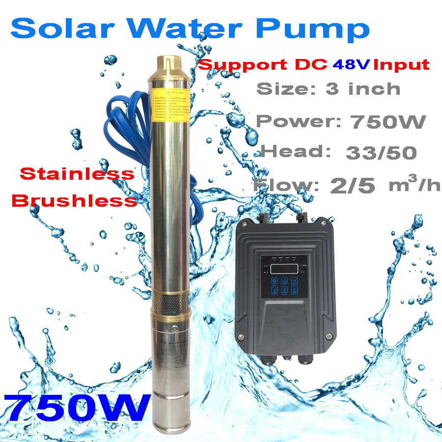 3inch 750W 48V DC Brushless solar water pump with synchronous motor water flow 5T/H submersible pump for home & agriculture
