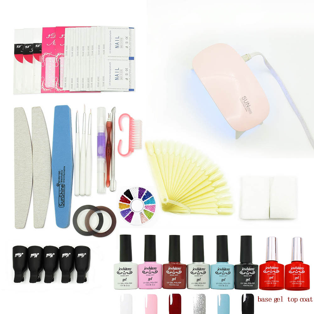 Nail Art Full Set Soak Off UV Gel Polish Manicure set 36W UV Lamp Kit any colors & base top coat varnishes nail gel nail tools nail art manicure tools 36w uv lamp 3color soak off nail gel base