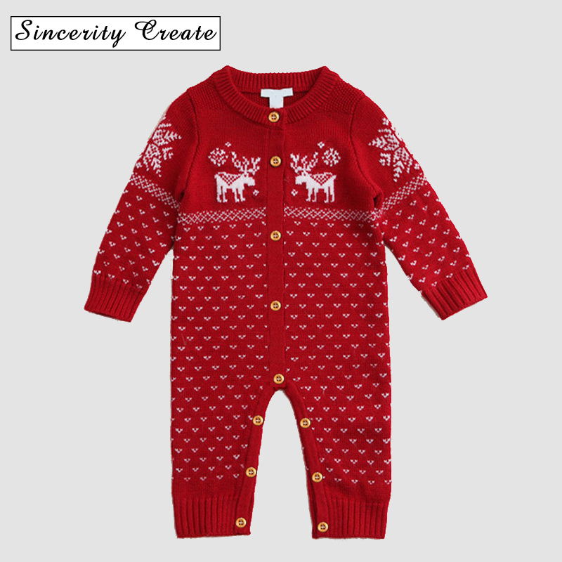 Spring winter Newborn Baby Sweater Christmas Clothes One-pieces Sweater Kid Knit Romper unisex full sleeve jumpsuit ABS-1541