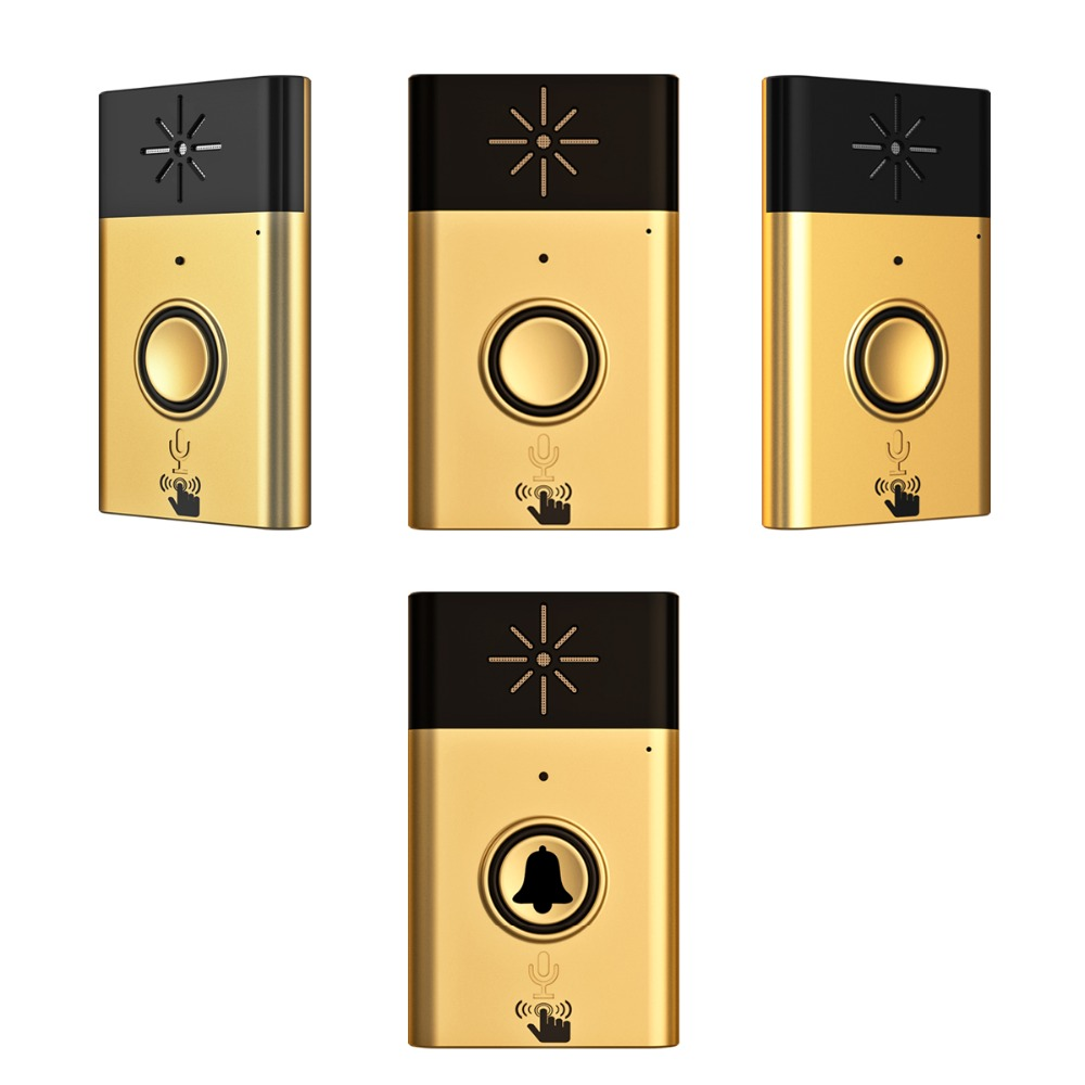 XINSILU New Arrival Digital Wireless Audio Doorbell,home security intercom system doorphone Gold color 1outside bell+3inner bell