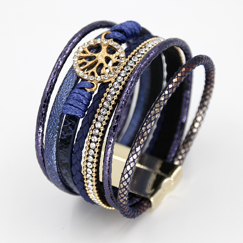 VONNOR Jewelry Bracelets for Women Multi-layer Leather Rope Rhinestone Alloy Accessories Magnet Clasp Bangle Bracelete Feminino 4