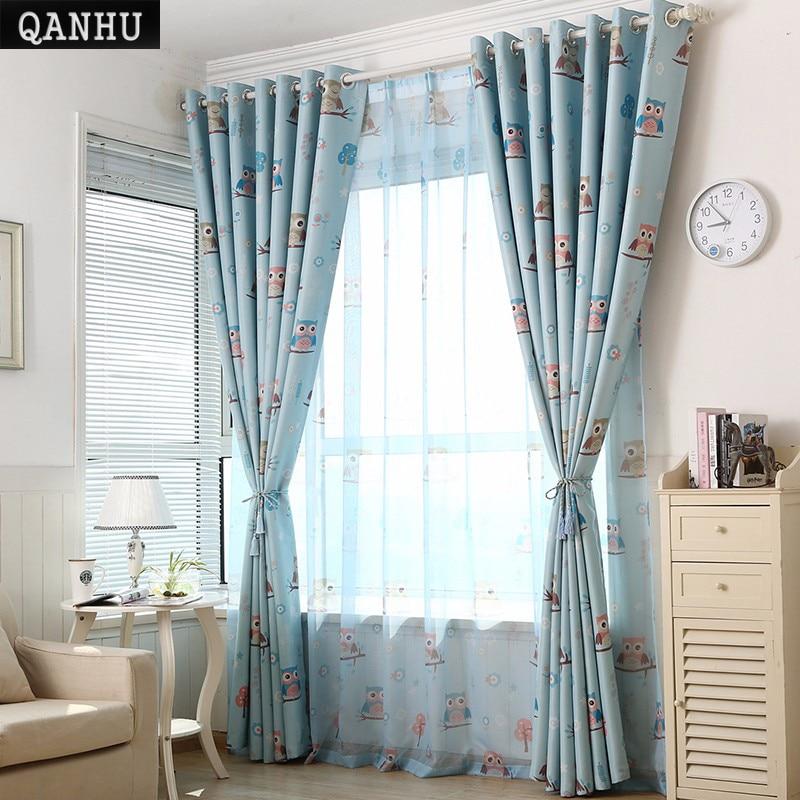 Qanhu Modern Curtains For Bedroom Cute Cartoon Owl