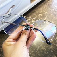 Vazrobe Transparent Glasses Women Men Aviation Eyeglasses Frame Woman's Points Half Pilot vintage Eyewear Clear Lens Nerd rose