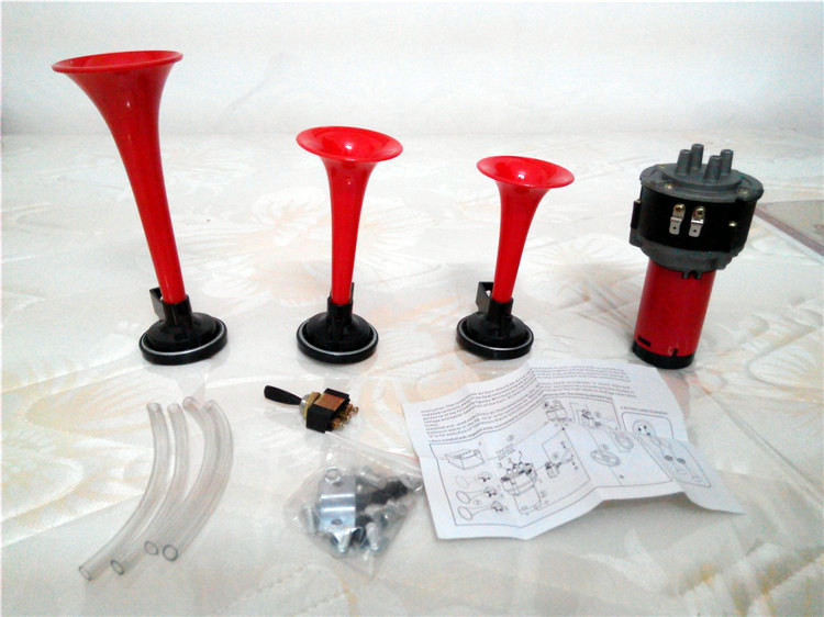 Trompeta Musical Electronic 3x Red Air Horn Compose Car Truck Boat - Autopartes - foto 2