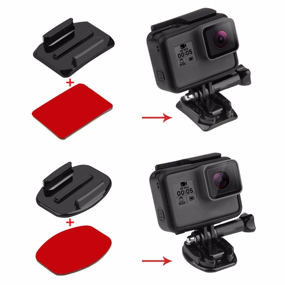 For Go Pro Accessories 2 Curved Surface Mounts + 2 Flat Surface Mounts + 4 3M Stickers for GoPro HERO5 HERO4 Session HERO 5 4 3+