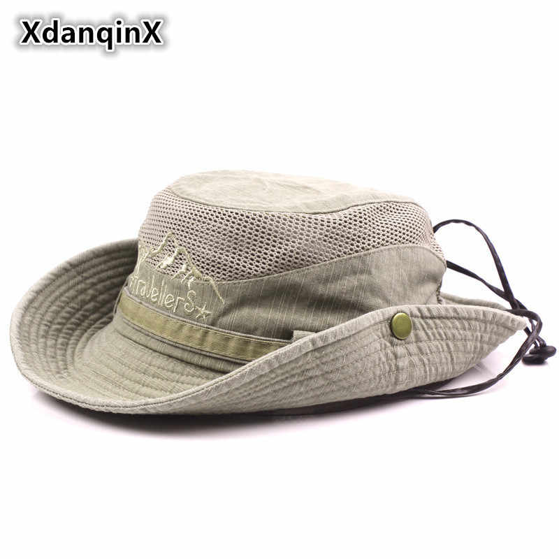 10b77e10091 XdanqinX Adult Men s Hat Summer Mesh Ventilation Retro 100% Cotton Bucket  Hats Novelty Dad s Sun
