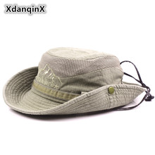 XdanqinX Adult Men's Cap Summer Mesh Breathable Retro 100% Cotton Bucket Hat Panama Jungle Fishing Hats Novelty Dad's Beach Cap