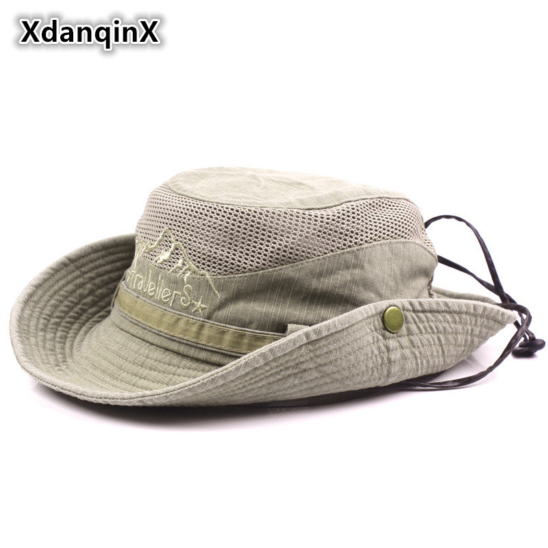 XdanqinX Voksen Mænds Hat Sommer Mesh Ventilation Retro 100% Cotton Bucket Hatte Novelty Dad's Sun Visor Fishing Hat Beach Caps