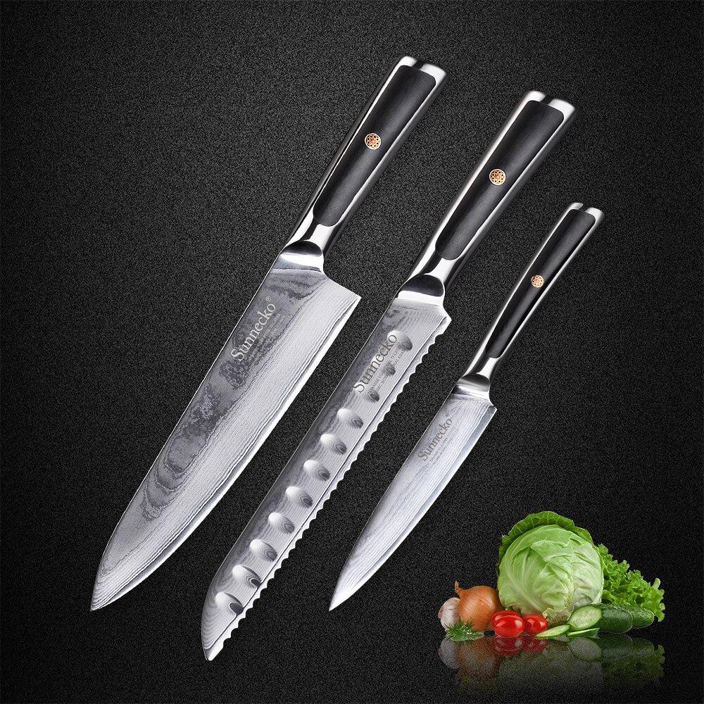 SUNNECKO 3 pcs Cuisine Couteaux Set Japonais VG10 Base En Acier de Damas Rasoir Lame Tranchante G10 Poignée Chef Pain Couteau ensembles