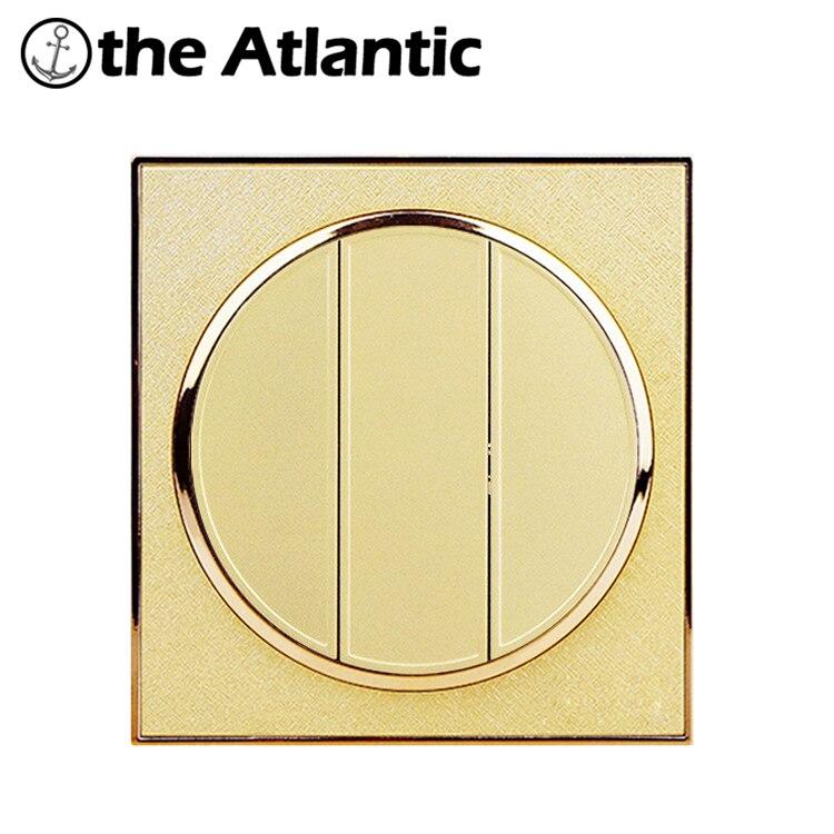 Atlantic Hot plastique 3 Gang 2 voies, AC 110 ~ 250 V Interrupteur 10A interrupteurs muraux miroir cercle lumière Interrupteur mural bouton poussoir