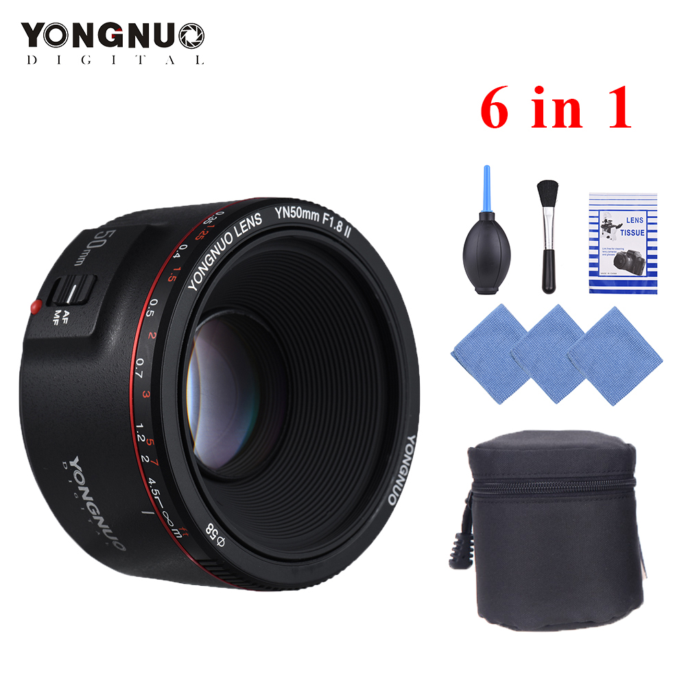 YONGNUO YN50mm F1.8 II Lens Large Aperture Auto Focus Lens for Canon EOS 70D 5D2 5D3 600D Camera 0.35 Closest Focal Length Lens-in Camera Lens from Consumer Electronics    1