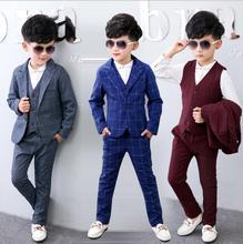 hot deal buy 2019 boys blazer suit kids blazers for weddings party gentleman baby boys suit 3pcs/set jacket+vest+pant boys clothing 3-10t
