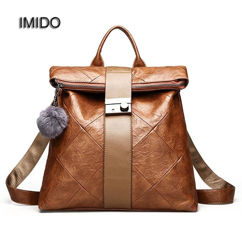 Perfecto Converger Locura  ᗚIMIDO Safe Lock Female Backpack PU Leather Backpacks for Women Backbag Fur  Ball School bags girls mochila feminina baobao SLD094 - a916
