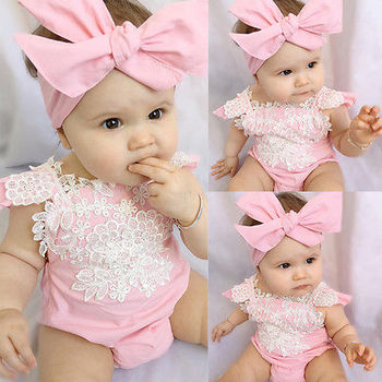 baby girl clothes newborn toddler baby girls rompers lace floral overall outfits sunsuit clothes 2 PCS Newborn Infant Baby Girls sleeveless Rompers Lace Floral Jumpsuit Playsuit Outfits Sunsuit