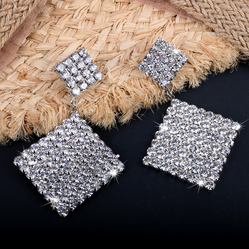 Brand design long rhombus Rhinestone Statement Earrings Big Crystal Earring For Women Large Circle Earing Luxury Party Evening J in Drop Earrings from Jewelry Accessories