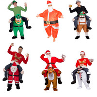 Adult Santa Claus Inflatable Clothes Snowman Ride On Carry Mascot Back Clothes Halloween Christmas Party Cosplay Costumes