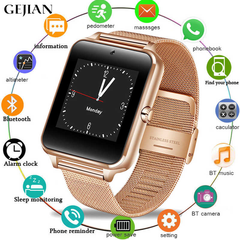 GEJIAN ultra-thin smart watch men's women's metal strap Bluetooth smart watch support 2G SIM TF card multi-language for Android