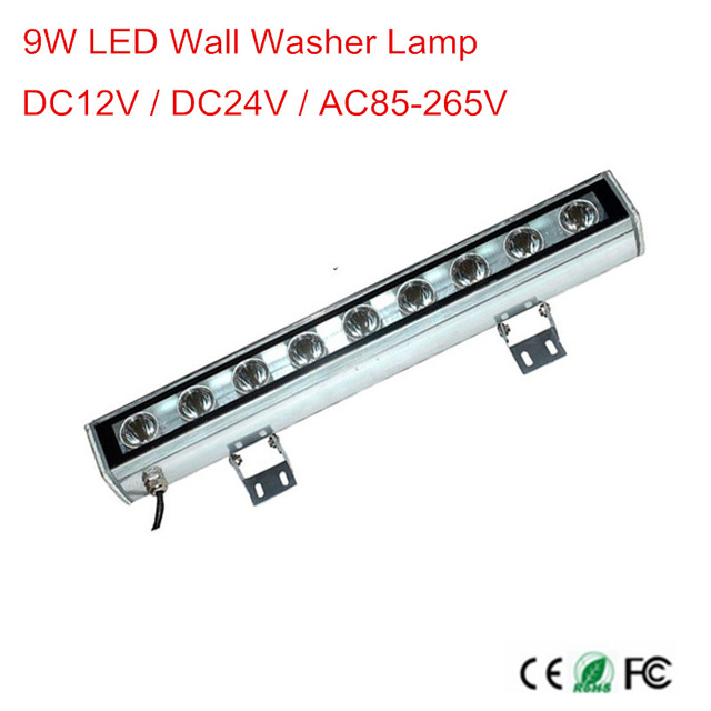 9 watts outdoor lamp LED flood light IP65 LED wall washer lamp AC 12V 24V AC85-265V white red yellow blue green rgb wall washer