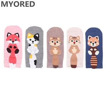 MYORED 5pairs women socks lovely fox cartoon animals cotton slippers Calcetines femeninos de dibujos animados gift