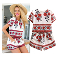 Women's Suit Floral Print Tops and Shorts Summer Short Sleeve Shirts Casual Elastic Waist Shorts 2 Piece Set Women LBLM673-0715