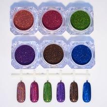 6 Boxes Holographic Nail Glitter Powder Laser Gorgeous Chrom