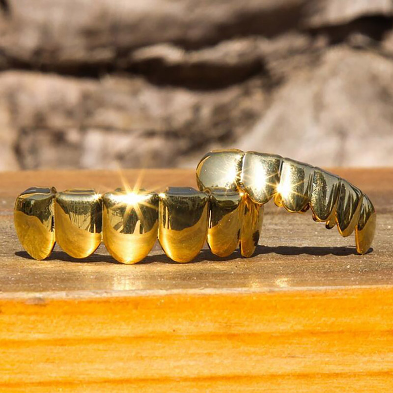 Hip Hop Gold Teeth Grillz Top & Bottom Grills Dental Mouth Punk Teeth Caps Cosplay Party Tooth Rapper Jewelry Gifts Accessories