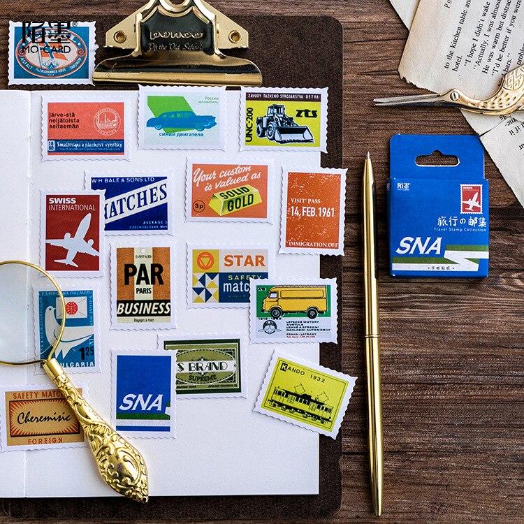 46 pcs/set Retro travel stamp Decorative Stickers Adhesive Stickers DIY Decoration Craft Scrapbooking Stickers Gift Statione