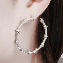 Punk Cool Silver Gold Color Big Circle Stud Earrings For Women Five-pointed Star Round Shaped Earrings Fashion Ear Jewelry fashion new arrival crystal star stud earrings for women girls cz zircon silver color five pointed star earrings party jewelry
