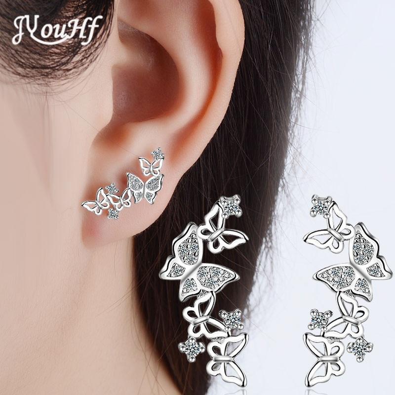 JYouHF New Arrival S925 Sterling Silver Sparkling Butterfly Stud Earrings for Women Shiny Zircon White Rose Gold Color Earrings