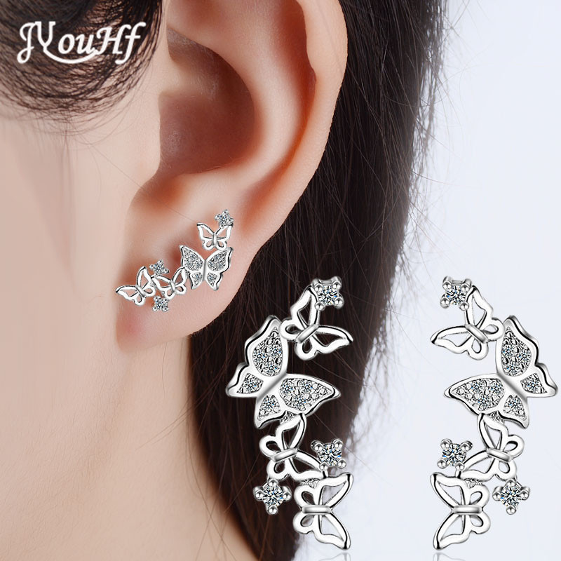 JYouHF New Arrival S925 Sterling Silver Sparkling Butterfly Stud Earrings for Women Shiny Zircon White Rose Gold Color Earrings