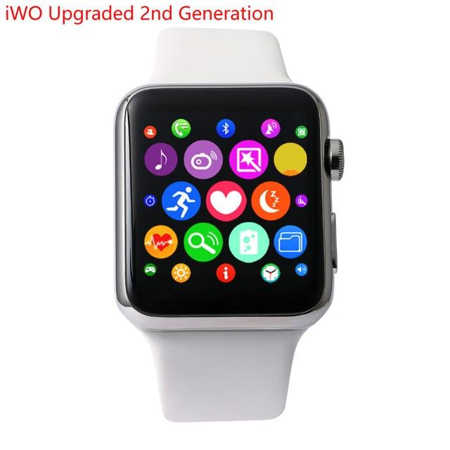 IWO Mejorada segunda Generación MTK2502C 42 MM Bluetooth Smartwatch  Podómetro Reloj Inteligente Probador de la Frecuencia 5e088ab4068