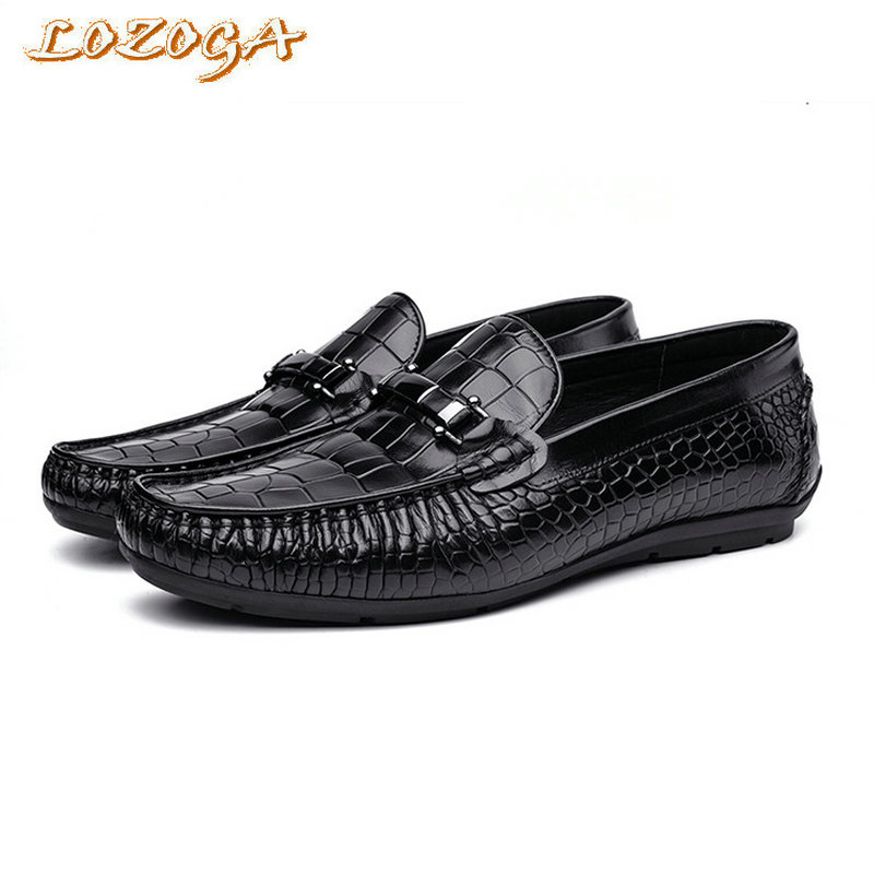New Mens Shoes Genuine Leather Brand Casual Shoes Luxury Handmade Alligator Cowskin Lazy Shoes Slip-On Flats Loafers Lozoga flat new style comfortable casual shoes men genuine leather shoes non slip flats handmade oxfords soft loafers luxury brand moccasins