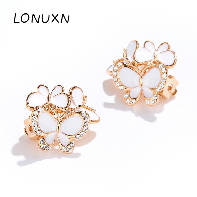 Fashion Cute Real 925 Sterling Silver Earrings Pretty Butterfly White Crystal Jewelry For Women Romantic Beautiful S925 Jewelry